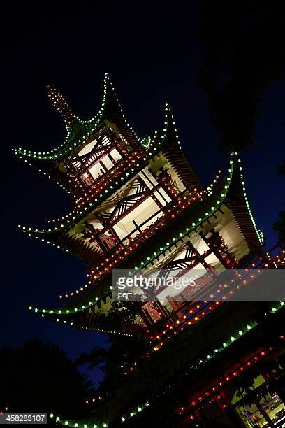Tivoli Gardens by night - the Japanese Tower