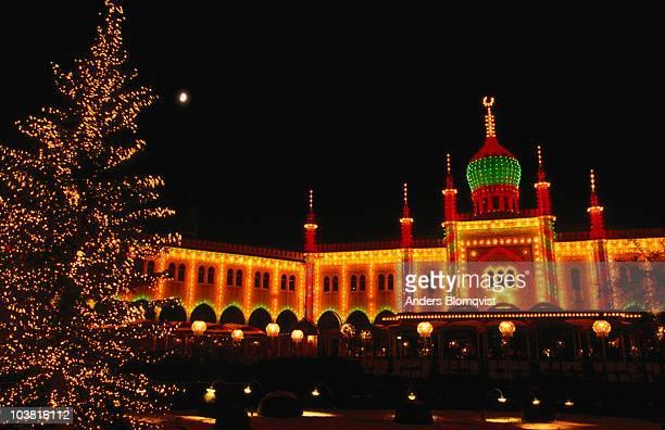 Tivoli Gardens in Copenhagen illuminated for the Christmas Market.
