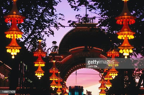 Tivoli Gardens outdoor lights in evening.