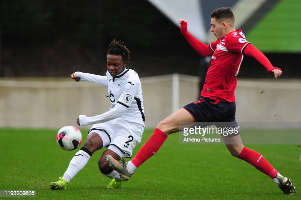 Tivonge Rushesha of Swansea City u23 in action during the Premier League 2 Division Two match between Swansea City u23s and Middlesbrough u23s at...