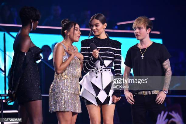 Tiwa Savage Anitta host Hailee Steinfeld and Mike Singer on stage during the MTV EMAs 2018 on November 4 2018 in Bilbao Spain