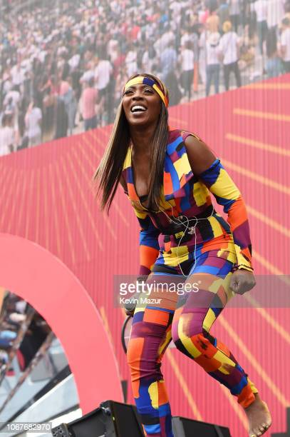 Tiwa Savage performs during the Global Citizen Festival Mandela 100 at FNB Stadium on December 2 2018 in Johannesburg South Africa