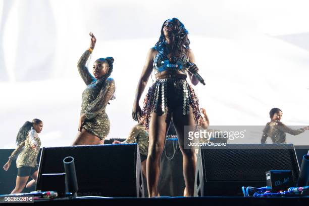 Tiwa Savage performs on stage during AFROREPUBLIK festival at The O2 Arena on May 26 2018 in London England