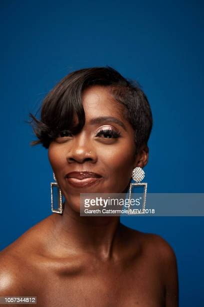 Tiwa Savage poses at the MTV EMAs 2018 studio at Bilbao Exhibition Centre on November 4 2018 in Bilbao Spain