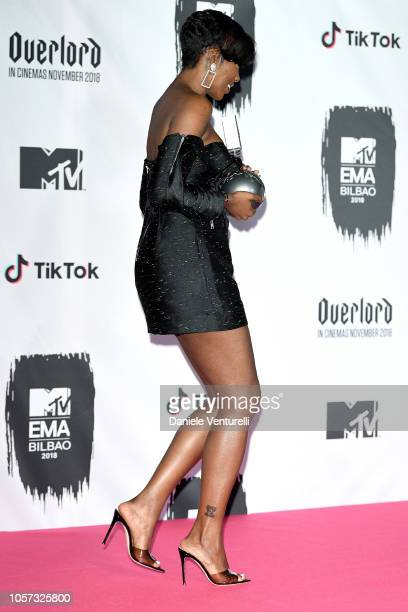 Tiwa Savage poses in the Winners room after winning the Best African Act award during the MTV EMAs 2018 on November 4 2018 in Bilbao Spain