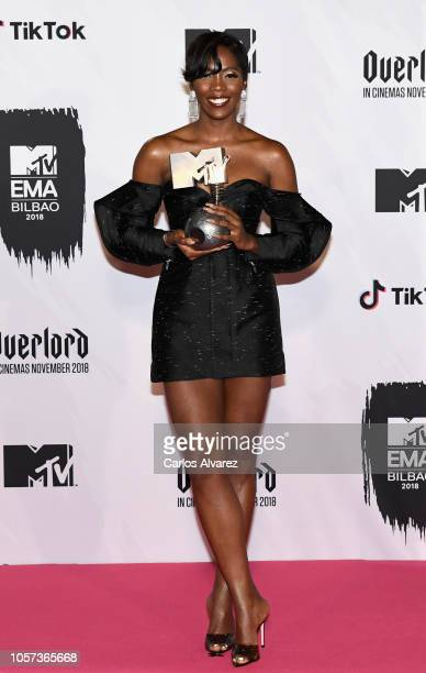 Tiwa Savage poses in the Winners room with the Best Africa Act during the MTV EMAs 2018 at Bilbao Exhibition Centre on November 4 2018 in Bilbao Spain