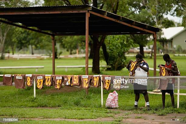 Tiwi Island residents hang out jerseys for a game of Australian Rules football at their local oval March 5 2007 on the Tiwi Island Australia...