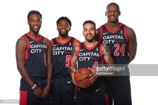 Tiwian Kendley Chasson Randle Chris Chiozza and Lavoy Allen of the Capital City GoGo pose for a portrait during NBA GLeague media day in the...