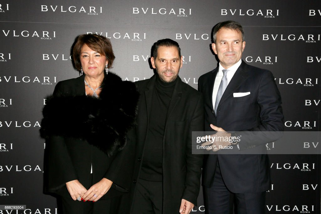 Tiziana Cuscuna, Roberto D'Amato and Lelio Gavazza attend Christmas Lights At Bvlgari Boutique Rome on December 7, 2017 in Rome, Italy.