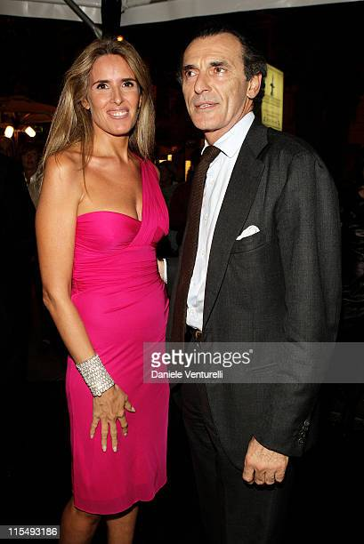 Tiziana Rocca and Ferdinando Brachetti Peretti attends the Versace Flagship Boutique opening in Via Veneto on October 29 2008 in Rome Italy