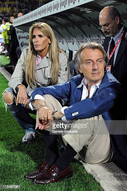 Tiziana Rocca and President of Telethon Luca Cordero di Montezemolo attend the XIX Partita Del Cuore charity football game at on May 25 2010 in...