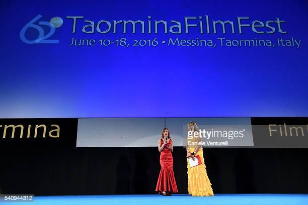 Tiziana Rocca and Silvia Grilli attend Baume Mercier 62 Taormina Film Fest on June 17 2016 in Taormina Italy