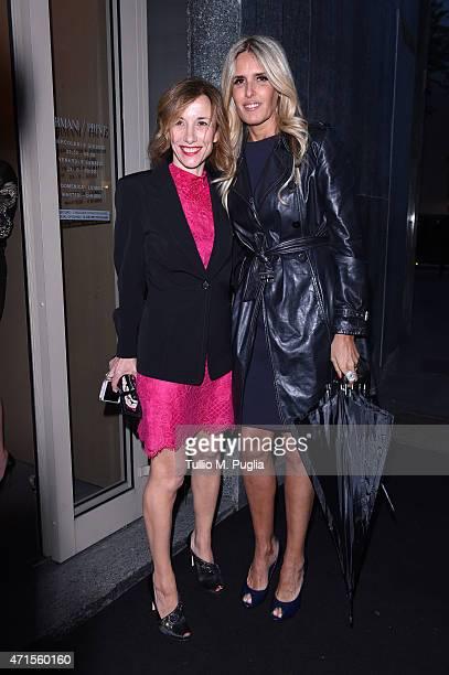 Tiziana Rocca and Silvia Grilli attends the Giorgio Armani 40th Anniversary Dinner Reception at Nobu on April 29 2015 in Milan Italy