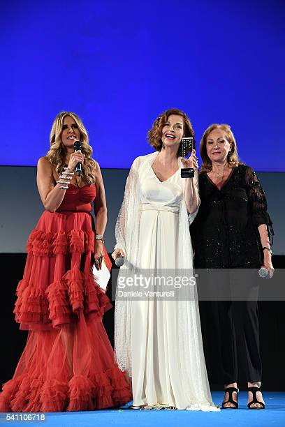 Tiziana Rocca Anna Galiena and Rosetta Sannelli attend Baume Mercier Closing Night 62 Taormina Film Fest on June 18 2016 in Taormina Italy