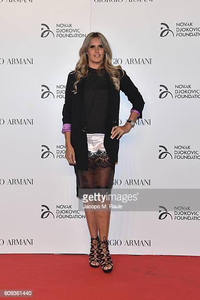 Tiziana Rocca attends the Milano Gala Dinner benefitting the Novak Djokovic Foundation presented by Giorgio Armani at Castello Sforzesco on September...