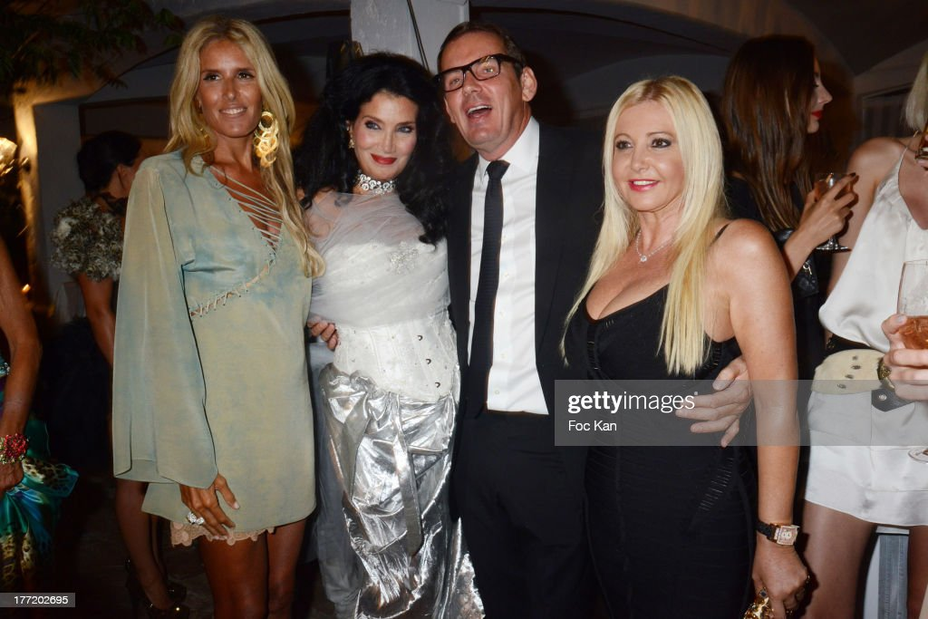 Tiziana Rocca, Lamia Khashoggi, Michel Leclerc and Monika Bacardi attend the Massimo Gargia's Birthday Dinner at Moulins de Ramatuelle on August 21, 2013 in Saint Tropez, France.