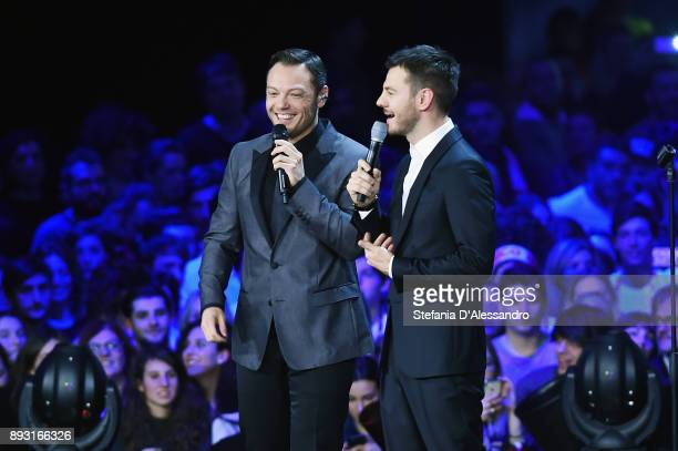 Tiziano Ferro and Alessandro Cattelan attend the X Factor 11 finale on December 14 2017 in Milan Italy
