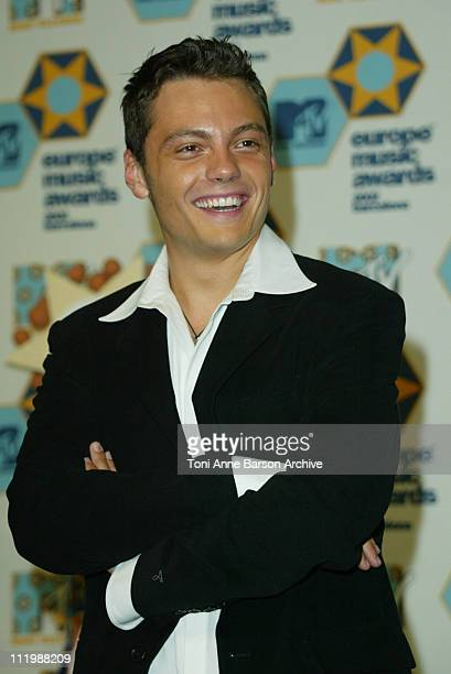 Tiziano Ferro during 2002 MTV European Music Awards Press Room at Palau Sant Jordi in Barcelona Spain