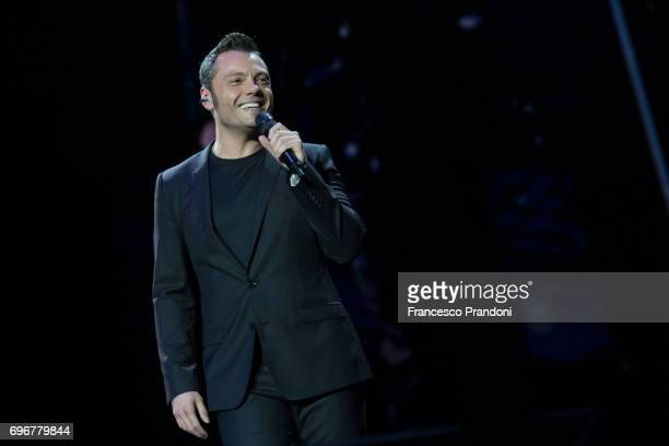 Tiziano Ferro performs on stage at San Siro on June 16 2017 in Milan Italy