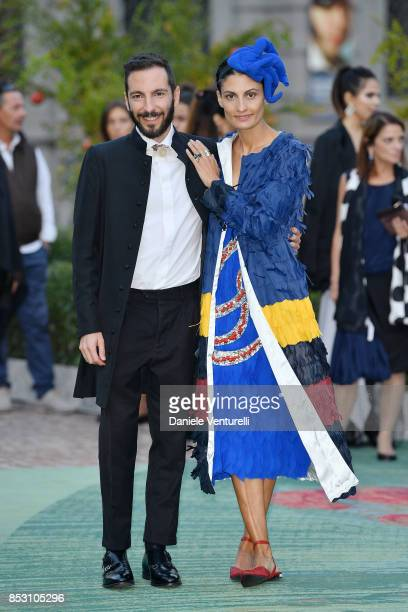 Tiziano Guardini and Helen Nonini attends the Green Carpet Fashion Awards Italia 2017 during Milan Fashion Week Spring/Summer 2018 on September 24...