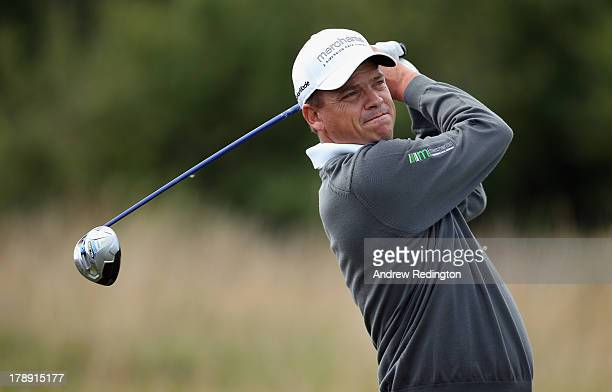 Tjaart Van Der Walt of South Africa hits his teeshot on the second hole during the third round of the ISPS Handa Wales Open on the Twenty Ten course...