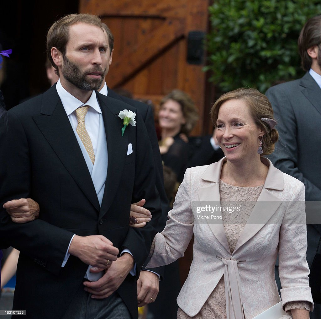 Tjalling ten Cate and Princess Margarita de Bourbon de Parme attend the wedding of Prince Jaime de Bourbon Parme and Viktoria Cservenyak at The Church Of Our Lady At Ascension on October 5, 2013 in Apeldoorn, Netherlands.