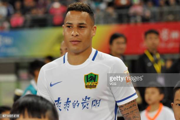 Tjaronn Chery of Guizhou Hengfeng reacts during the 6th round match of China Super League between Guizhou Hengfeng and Shanghai Shenhua at Guiyang...