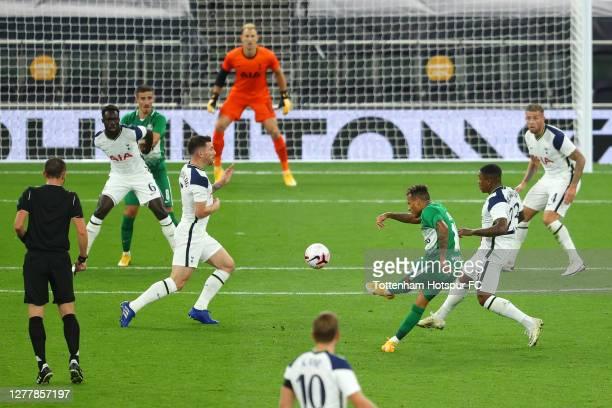 Tjaronn Chery of Maccabi Haifa scores his team's first goal during the UEFA Europa League play-off match between Tottenham Hotspur and Maccabi Haifa...