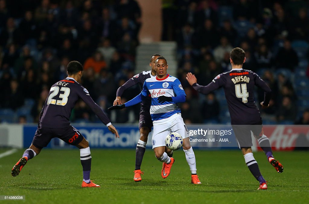 Tjarron Chery of Queens Park Rangers in action during the Sky Bet Championship match between Queens Park Rangers and Derby County at at Loftus Road on March 8, 2016 in London, England.