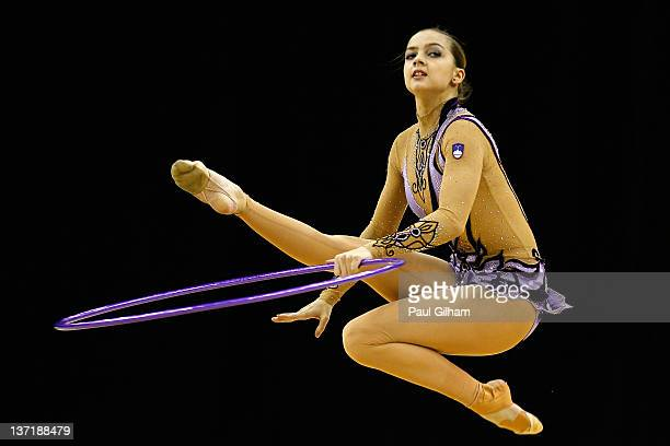 Tjasa Seme of Slovenia in action in the Individual AllAround during the FIG Rhythmic Gymnastics Olympic Qualification round at North Greenwich Arena...