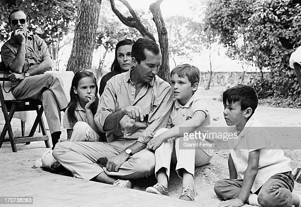 Tjhe bullfighter Dominquin andt his family at his farm in Villa Paz: Paola, Italian actress Lucia Bose, the bullfighter Luis Miguel Dominquin and...