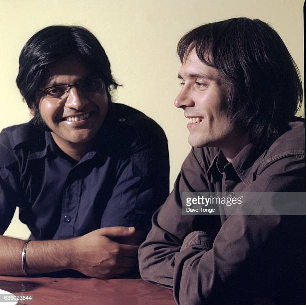 Tjinder Singh and Ben Ayres of British indie rock group Cornershop, Stoke Newington, London, United Kingdom, August 1999.