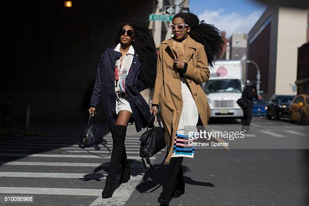 Tk Wonder and Cipriana Quann are seen at Rebecca Minkoff during New York Fashion Week: Women's Fall/Winter 2016 on February 13, 2016 in New York City.