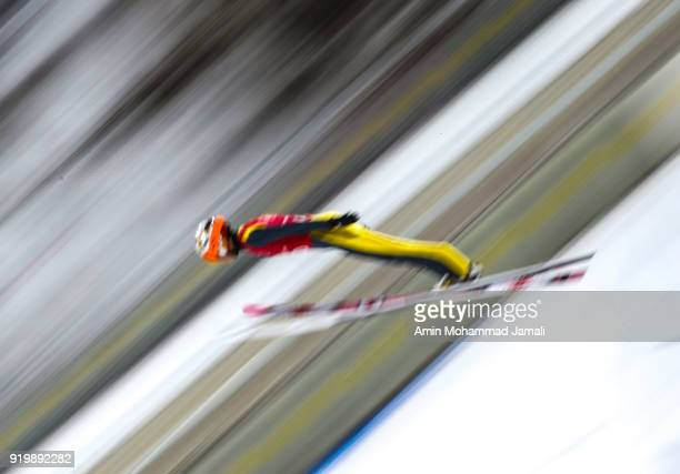 Tkachenko Sergey of Kazakhstan makes a jump during the Ski Jumping Men's Large Hill on day nine of the PyeongChang 2018 Winter Olympic Games at...