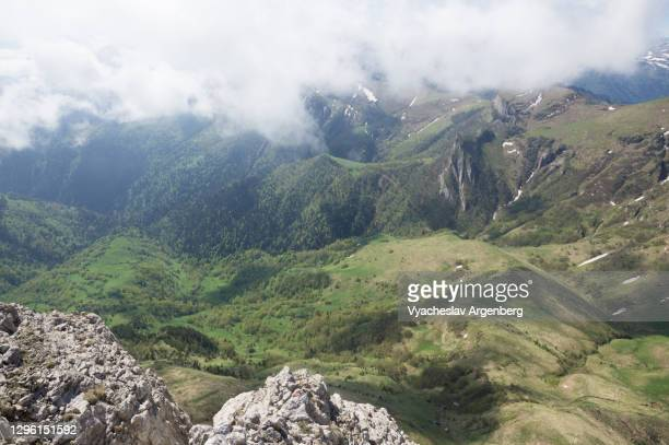 tkhach pass, mountain panorama, western caucasus - argenberg stock pictures, royalty-free photos & images