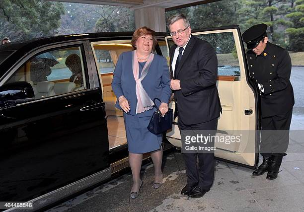 TLady Anna Komorowska and President Komorowski step out of the limousine to meet The Emperor Akihito and Empress Michiko of Japan on February 26,...