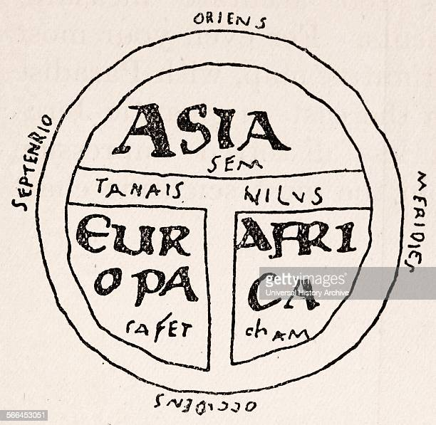 A Tmap showing three known continents on a flat earth projection from the 13th century