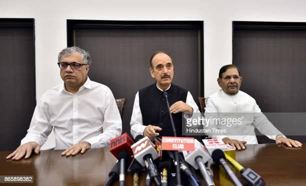 TMCs Derek OBrien Congress Ghulam Nabi Azad and rebel JD leader Sharad Yadav during Press Conference at speakers hall Constitution Club on October 24...