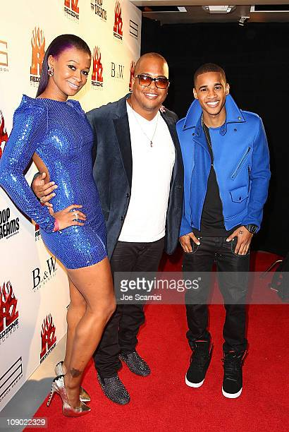 Tmelle Tricky Stewart and Bryan J attend the Tricky Stewart And RedZone Entertainment PreGRAMMY Party presented by rdiocom at The Playhouse on...
