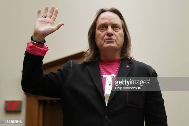 Mobile CEO John Legere is sworn in before testifying to the House Judiciary Committee's Antitrust Commercial and Administrative Law Subcommittee in...