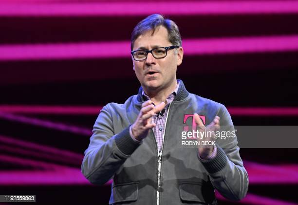 TMobile Chief Operating Officer Mike Sievert speaks at the Quibi keynote address January 8 2020 at the 2020 Consumer Electronics Show in Las Vegas...