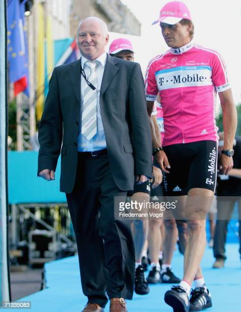 Mobile's Team Manager Rudy Pevenage and Jan Ullrich walk together during the team presentation of the Tour de France 2006 on June 29 2006 in...
