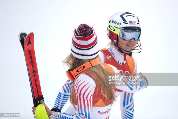 't'n Lindsey Vonn from the United States after failing to finish the slalom with silver medalist Mikaela Shiffrin of the United States during the...