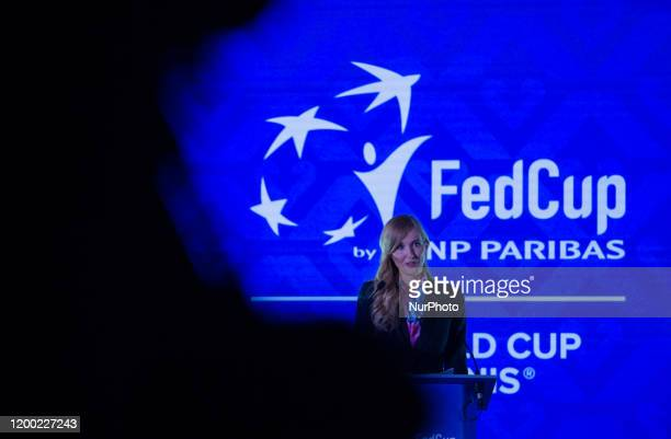 Tünde Szabó the Secretary of State for Sports speak after the Fed Cup draw ceremony on Tuesday 11 February 2020 at the Museum of Fine Arts in Budapest