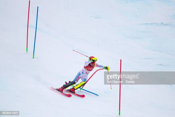 't'nSilver medal winner Mikaela Shiffrin of the United States in action in the slalom during the Alpine Skiing Ladies' Alpine Combined Slalom at...