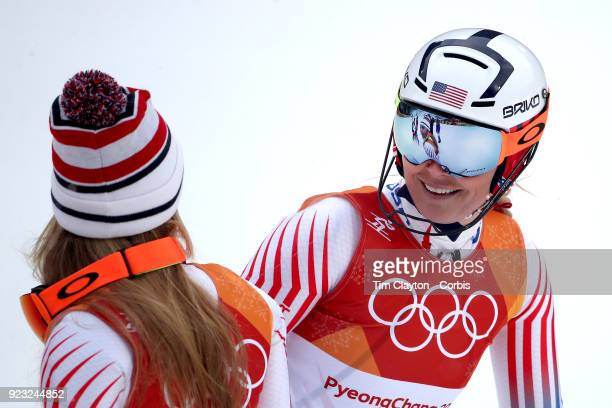 tnSilver medal winner Mikaela Shiffrin of the United States is reflected in the goggles of Lindsey Vonn from the United States who failed to finish...