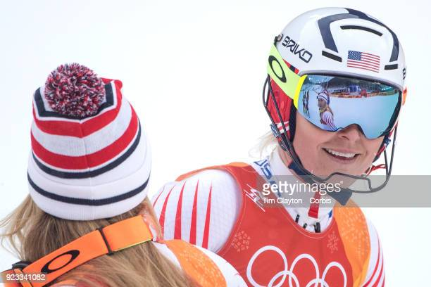 't'nSilver medal winner Mikaela Shiffrin of the United States is reflected in the goggles of Lindsey Vonn from the United States who failed to finish...