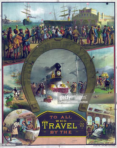 To all who travel by the c1882 September Print showing around the outer rim of a horseshoe immigrants from many nations arriving by steamship a man...