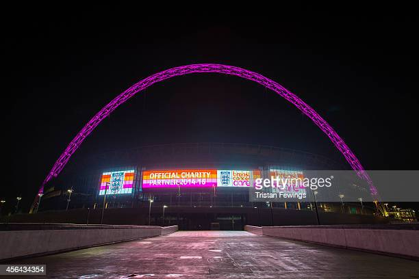 To celebrate Breast Cancer Awareness month the Wembley Arch turns pink to highlight The Football Association and Breast Cancer Care's new 'Pass it...