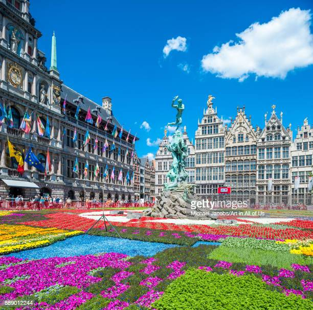 "To celebrate the Antwerp City Hall""u2019s 450th birthday, the Grote markt is covered with a carpet of flowers"